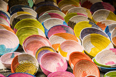 Wall of colorful knit bowls. Wall of empty colorful knit bowls Stock Photos