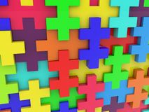 Wall of colorful puzzle. In backgrounds Royalty Free Stock Image