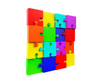 Wall of the colorful puzzles Royalty Free Stock Photography