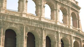 Wall of Colosseum. Ancient building with arches stock footage