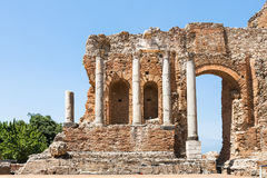 Wall and columns of Teatro Greco in Taormina Stock Images