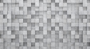 Wall of concrete hexagons and concrete floor. 3D rendering Royalty Free Stock Photo