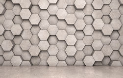 Wall of concrete hexagons and concrete floor. 3D rendering Stock Images