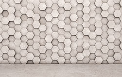 Wall of concrete hexagons and concrete floor. 3D rendering Stock Image