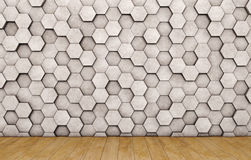 Wall of concrete hexagons and wooden floor. 3D rendering stock illustration