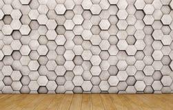 Wall of concrete hexagons and wooden floor. 3D rendering Stock Photo