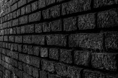 Wall Constructed from Hand Made Clay Bricks in Black and White Royalty Free Stock Photos