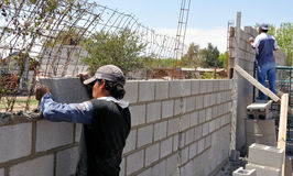 Wall construction. Pic of a wall being under construction Stock Images
