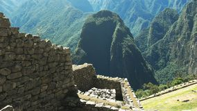 Wall construction detail at machu picchu ruins