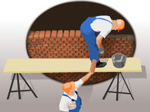 Wall construction with two workers. Wall construction with two masons working together vector illustration