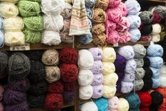 Wall of Cotton knitting skeins in Ireland. Stock Images