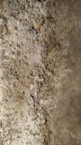 Wall covered with coarse cement gray plaster. Background. Close-up stock image