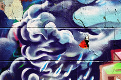 Wall covered in colorful graffiti Royalty Free Stock Image