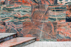 Exterior wall and stairs covered with marble tiles Royalty Free Stock Photos
