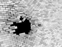 Wall crash. Abstract 3d illustration of brick wall hole crash Stock Photo