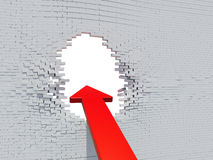 Wall crash arrow with white hole Stock Images