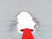 Wall crash red arrow and bricks Royalty Free Stock Images