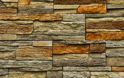 Sandstone and slate rectangular and square background. This is a wall created from either sand stone or slate and dry stacked on top of each other creating a royalty free stock image