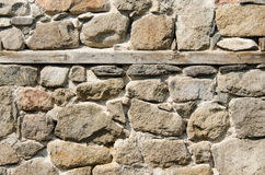 Wall of crushed stone, masonry and wooden plank Stock Photography