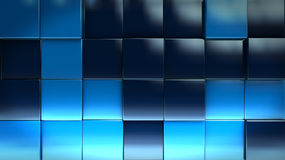 Wall Cube background. Blue Cube Blocks Background 3d Render Illustration Royalty Free Stock Photos
