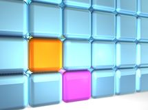 Wall of Cubes. 3d rendering of group of cubes Stock Photo