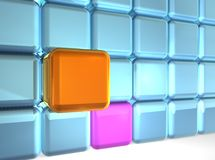 Wall of Cubes. 3d rendering of group of cubes Royalty Free Stock Photo