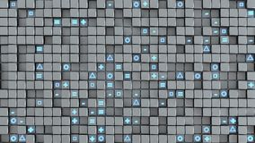 Wall of cubes and random symbols abstract 3D render. Wall of cubes and random symbols. Abstract modern technology or science fiction concept. 3D render Royalty Free Illustration