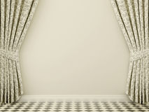 Wall with curtains Stock Photography