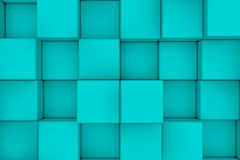 Wall of cyan cubes. Abstract background. 3d render Stock Photography