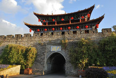 The wall of Dali old city. Dali Old City located in Yunnan Province china.The picture is the south gate of Dali old city stock images