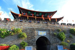 The wall of Dali old city. City gate tower in Dali ancient city ,Dali Old City located in Yunnan Province china.The picture is the south gate of Dali old city Royalty Free Stock Photo