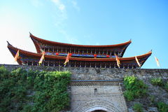 The wall of Dali old city. City gate tower in Dali ancient city ,Dali Old City located in Yunnan Province china.The picture is the south gate of Dali old city Royalty Free Stock Photos