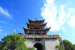 The wall of Dali old city. City gate tower in Dali ancient city ,Dali Old City located in Yunnan Province china.The picture is the south gate of Dali old city Royalty Free Stock Photography