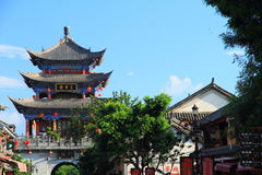 The wall of Dali old city. City gate tower in Dali ancient city ,Dali Old City located in Yunnan Province china.The picture is the south gate of Dali old city Stock Photos