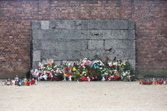 Wall of Death Auschwitz Stock Images