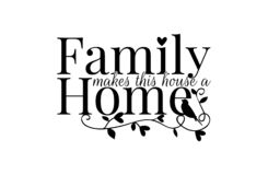 Wall Decals, Family makes this house a home, Wording, Lettering Design, Art Decor, Wall Decor isolated on white background. Wall Decals, Family makes this house vector illustration