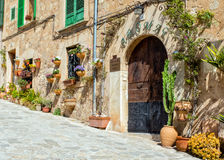 Wall Decorated with Flowerpots, Valldemossa. Stock Photos