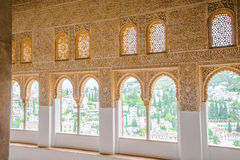 Wall decorated with Islamic ornaments inside Alhambra Palace - S Royalty Free Stock Image