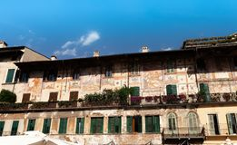 The wall is decorated with ornaments during the Middle Ages in Verona. The wall is decorated with different ornaments during the Middle Ages in Verona stock photo
