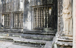 Wall decorated with ornaments and reliefs. Wall decorated with khmer ornaments and reliefs Stock Image