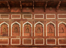 Wall decoration in Agra fort. Agra, India Royalty Free Stock Images