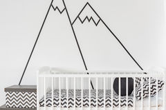 Wall decoration in baby room. Modern wall decoration in white baby room Royalty Free Stock Photos