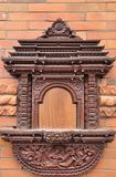 Wall Decoration of Buddhism. Wooden Sculptured wall Decoration of Buddhism from Nepal stock photography
