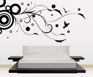 Wall decoration with floral design Royalty Free Stock Images