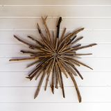 Wall decoration made from driftwood royalty free stock photography