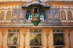 Wall decoration of Peacock Square, City Palace complex, Udaipur, Royalty Free Stock Photography