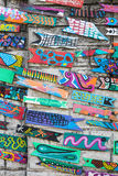 Wall decoration of wooden fish in Gamcheon Culture Village, Busan, Korea Royalty Free Stock Photography