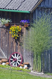 Wall decorations in  farm - flowers, stone and carriage wheel Royalty Free Stock Photos
