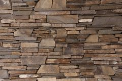 Wall of decorative brick uneven laying of the building facade. Outdoor Royalty Free Stock Images
