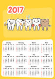 Wall dental calendar 2017. New year stomatology planner. Funny cartoon teeth and oral hygiene concept. Toothcare. Week starts Sunday. Horizontal orientation Royalty Free Stock Photo